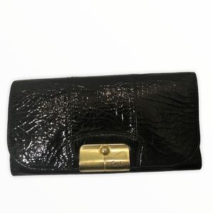 Coach patent leather Kirsten checkbook wallet